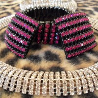 Hot Pink Retro Stunning Stylish Rhinestone Bracelet & Earrings | MartiniMermaid - Jewelry on ArtFire
