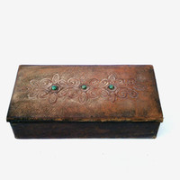 Vintage jewelry leather box retro leather jewelry box shabby chic decor USSR collectible mid century women jewelry leather box antique box