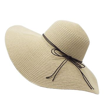 7484ea98aa834 Floppy Straw Hat Large Brim Sun Hat Women Summer Beach Cap Big Foldable  Fedora Hats for
