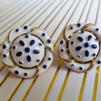 Vintage Trifari Enamel Earrings, Blue and White, Precious Pet Series