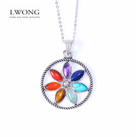 2016 New Natural Stone Reiki Chakra Pendant Necklace Women Healing Crystals Moon Necklaces Semi-Precious Stone Jewelry 22 Design