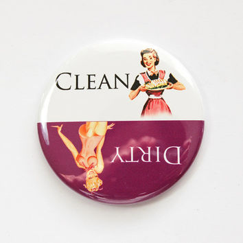 Dishwasher magnet, Clean Dishes, Dirty Dishes, Pinup Girl, kitchen magnet, Purple, White, clean dishes magnet, Magnet, Kellys Magnets (3586)