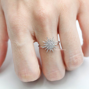 Cubic Snowflake, Sun, Sun Beam, Star Adjustable Ring detailed with CZ in 3 colors, R0841S