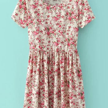 Red Floral Printed Pleated Dress