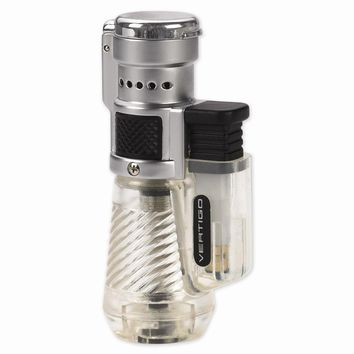 Vertigo Cyclone Clear And Brushed Chrome Triple Flame Torch Lighter