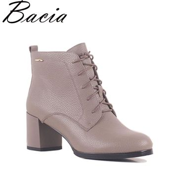 Bacia Natural Leathe Ankle Boots Fashion Square Toe Thick Heel Women Boots High Heel Genuine Leather Lady Boots Size 36-40 SB045