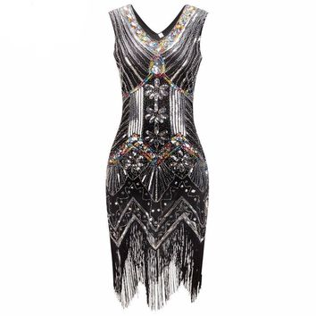 1920s Great Gatsby Dress Sequin Beading V Neck Tassel Flapper Dress Black Party Long Summer Dress
