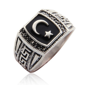 Antique Silver Plated Mmuslim Moon & Star Ring Muhammed Mulim Islamic Arabic Ring Middle Eastern Religious Jewelry For Men Women
