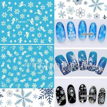 Hot! 12 Sheets In 1 Mixed Style Snowflakes Christmas 3d Nail Art Sticker Tips Decals Manicure Diy X'mas Sticker Smy049 060