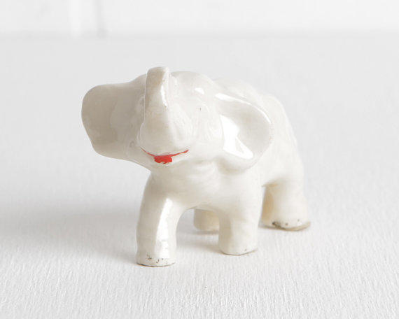 Vintage White Ceramic Elephant Figurine From Lobster Bisque
