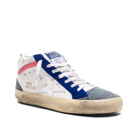 Golden Goose Mid Star Sneakers in White & White | FWRD