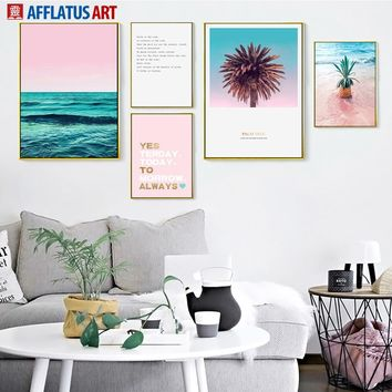 AFFLATUS Sea Beach Landscape Canvas Painting Nordic Poster Wall Art Print Wall Pictures For Living Room Bedroom Pop Art Decor