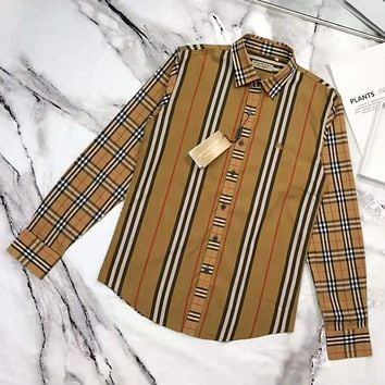 BURBERRY Fashion Men Women Classic Plaid Long Sleeve Shirt Top