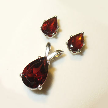 Pear-Cut Rhodolite Garnets in Solid Sterling Silver Earrings and Pendant Set