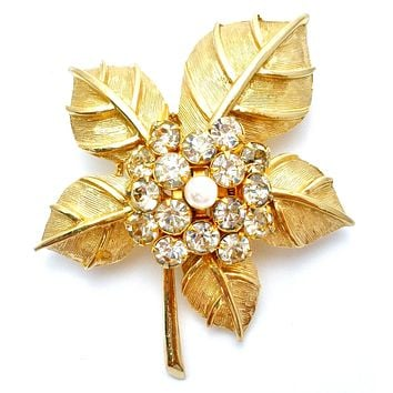 Coro Gold Leaf Brooch Pin with Rhinestones Vintage