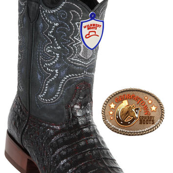 Wild West Boots Mens Full Vamp Caiman Belly Square-Toe Cowboy Boots Black Cherry