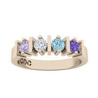 14k Personalized Mothers Straight Bar Ring Solid White Yellow Or Rose Gold  w/ 1 2 3 4 5 or 6 Birthstones Custom Family Jewelry
