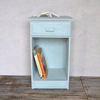 Vintage Distressed Shabby Chic Robin's Egg Blue Side / End Table