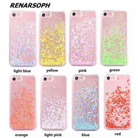 Indie Pop Liquid Flow Sand Sequins Hard Plastic Phone Case Quicksand Cover For iPhone 4 4S 5 5S SE 5C 6 6S 7 6/6S/7Plus K4D15-09