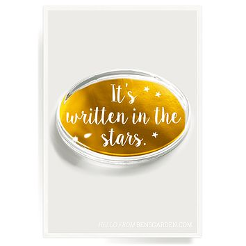 It's Written In The Stars Gold Foil Crystal Oval Paperweight