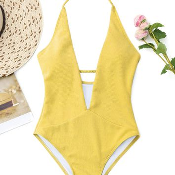 New Women One Piece Plunge Neckline Ribbed Plaited Swimwear Women Swimsuit Padded Halter Low Cut Solid Bathing Suit