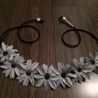 Silver Metallic Daisy Flower Headband, Flower Crown, Flower Halo, Festival Wear, EDC, Coachella, Ezoo,Ultra Music Festival, Rave