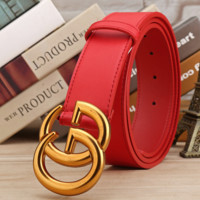 GUCCI Woman Fashion Smooth Buckle Belt Leather Belt red