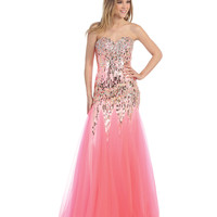 Pink Sequin Sweetheart Trumpet Dress 2015 Prom Dresses