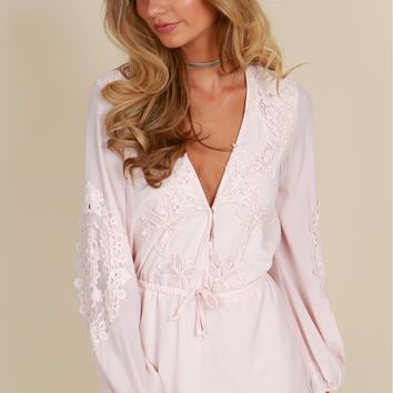 All About That Lace Romper Blush