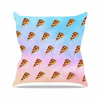 "Juan Paolo ""Lucid Pizza"" Food Pattern Outdoor Throw Pillow"