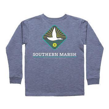 Youth Long Sleeve Branding Flying Duck Tee in Washed Slate by Southern Marsh