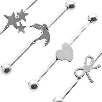 "LOT of 4 Girly Industrial Scaffold Barbell 14 Gauge 38mm (1 1/2"") Long Heart, Triple Stars, Bow, Dove"