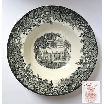 Black Toile Transferware Rim Bowl Romantic England Grazing Deer English Castle