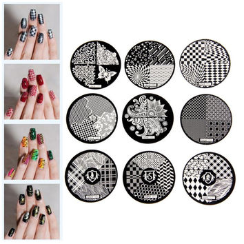 Flower Pattern Fashion DIY designer Steel Plate Nail Art Image Print Stamp Stamping Manicure Template DIY Polish Tools 9 Styles
