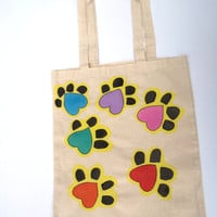 Hand painted Tote Bag Cat Paws Colorful Coloured Hand drawn Cotton Canvas Shopping Bag -Large Size