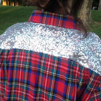 Flannel Shirt Large Ready to SHIP Plaid Sequin Embellished Shirt  - Plaid meets Glam - Boho Sparkle-Flannel Sequin Shirt Red Flannel Shirt