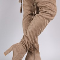 Suede Tassel Drawstring Chunky Heeled Over-The-Knee Boots