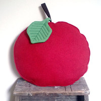 Red apple shaped seat pillow, seat cushion - handmade from wool felt