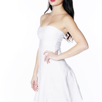 White Sweet Heart Fit And Flare Bandage Dress