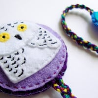 Felt owl bookmark, snowy owl on purple and lilac felt, made to order