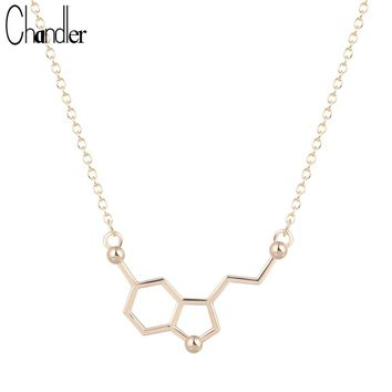 Chandler Silver Plated Serotonin Molecule Chemistry Necklace & Pendant For Women Statement Infinity Maxi Fahsion Chain Jewelry