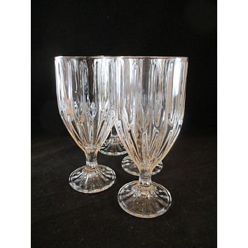 Crystal Goblets Vertical Cut Lines  S/4