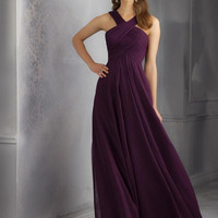 Eggplant Long Halter Ruched Straps Crisscross Bridesmaid Dress [Angelina Faccenda 20434] - $120.00 : Prom Dresses 2015,Wedding Dresses & Gowns On Sale,Buy Homecoming Dresses From Ailsadress.com
