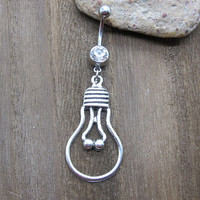 Antique Silver Lamp Bulb Navel Belly Button Ring ,Belly Button Jewelry ,Lucky Jewelry ,Friendship Gift,Summer Jewelry