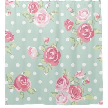 light green,pink roses,shabby chic,pattern,vintage shower curtain
