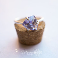 falling star - tanzanite gemstone ring. trillion cut ring. silver ring.