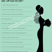 Bridal shower/bachelorette game printable - How well do you know the bride quiz