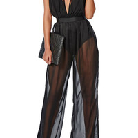 Black Strappy Deep-V Neck Belted Sheer Mesh Jumpsuit