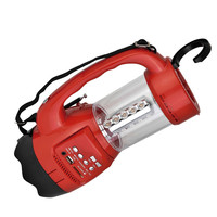 QFX Emergancy Flashlight-Lantern FM Radio USB-SD and Recording Built-in Rechargeable Battery- Red