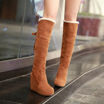 Warm Faux Suede Fur Wedges Knee High Boots Women Shoes 5625
